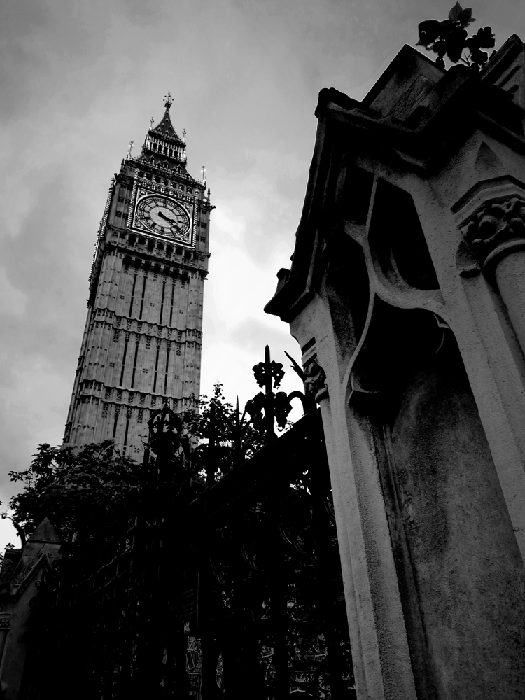 Photo noir et blanc du Big Ben, Londres, Angleterre