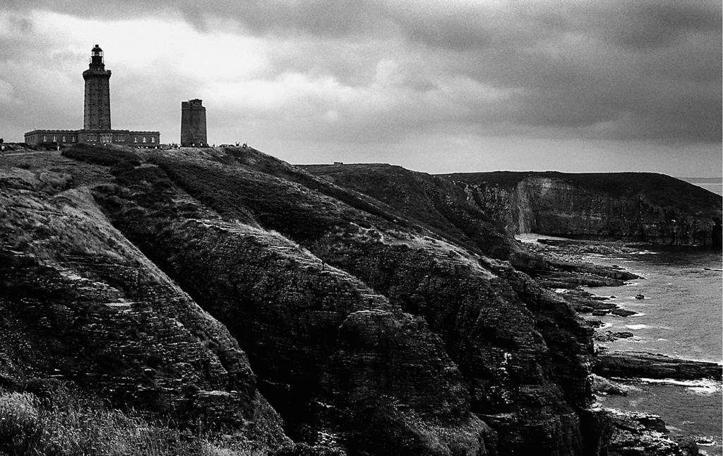 Photo noir et blanc du phare du Cap Fréhel, Bretagne