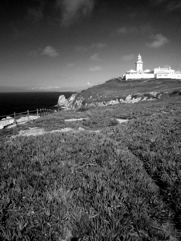 Photo noir et blanc du Cabo da Roca, Portugal