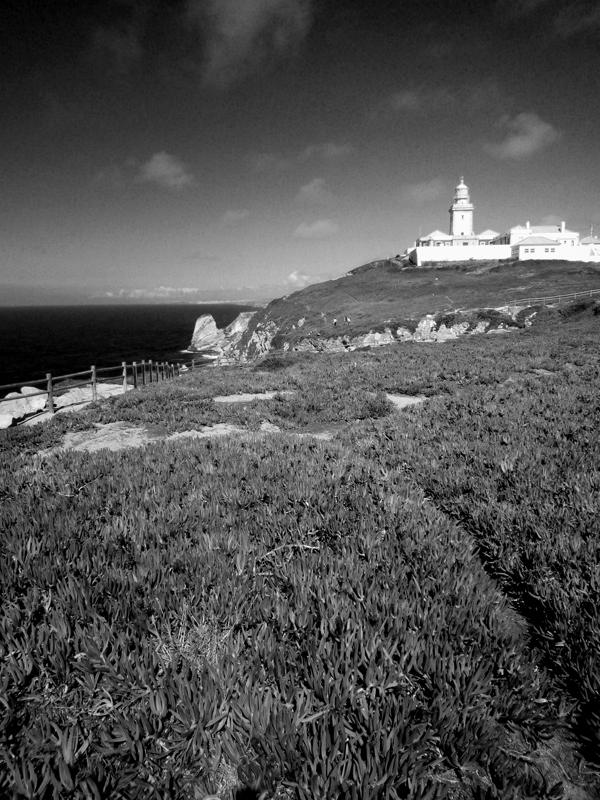 Photo noir et blanc du Cabo da Roca, Portugal