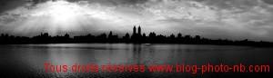 Panoramique de Central Park, New-York - photo noir et blanc