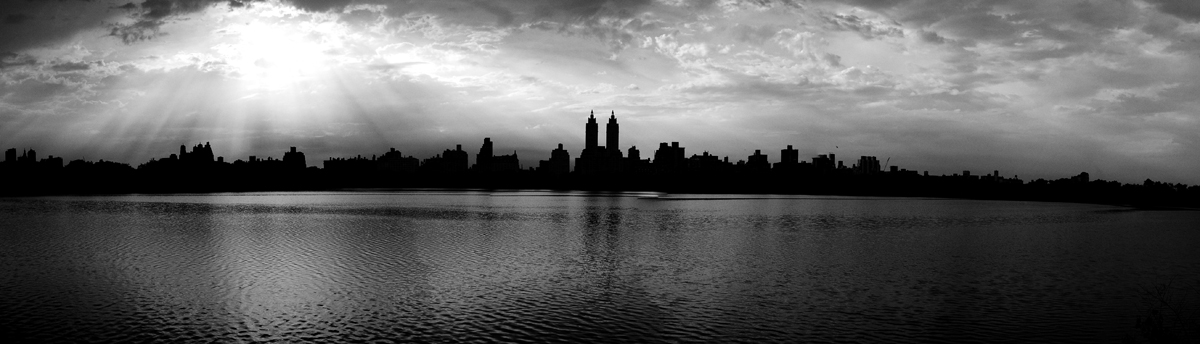 Photo noir et blanc panoramique de Central Park, New-York