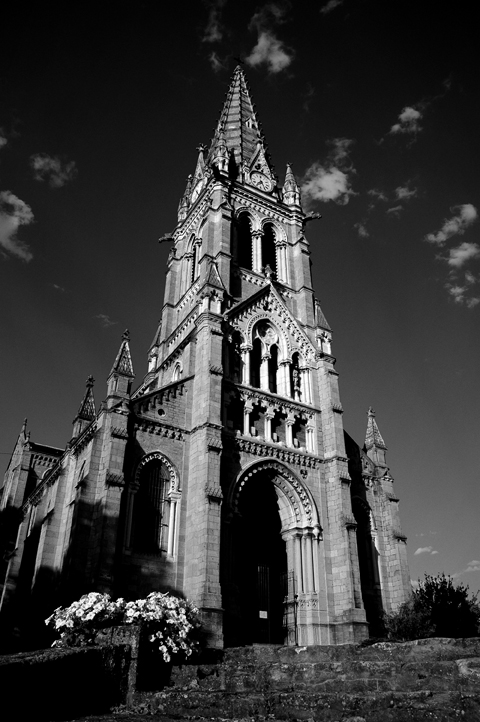 Photo noir et blanc de l''église de Saint Cyr au Mont d'Or