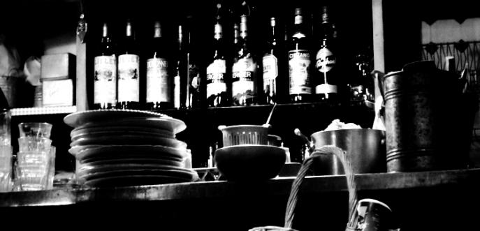 Photo noir et blanc bistrot ancien, Lyon