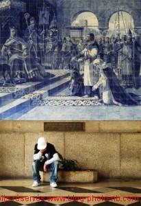 "Azulejos de la salle des ""pas perdus"" à la gare de Sao Bento - Porto / Portugal"
