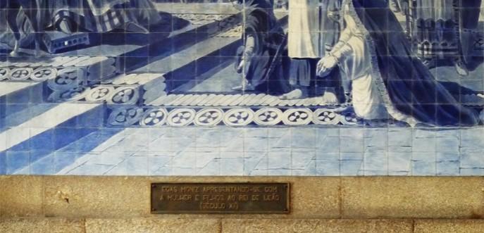 Photo couleur des azulejos de la gare de Porto - Portugal