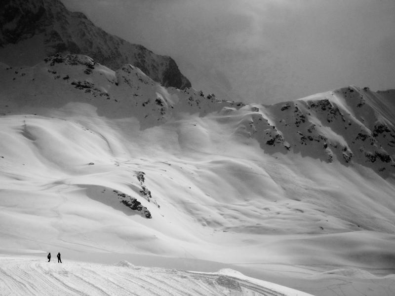 Photo noir et blanc Les Arcs 2000 - Col de la Chal (2600 mètres), Savoie.