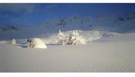 Photo couleur de l'hiver dans les Alpes, satin Les Arcs, Savoie