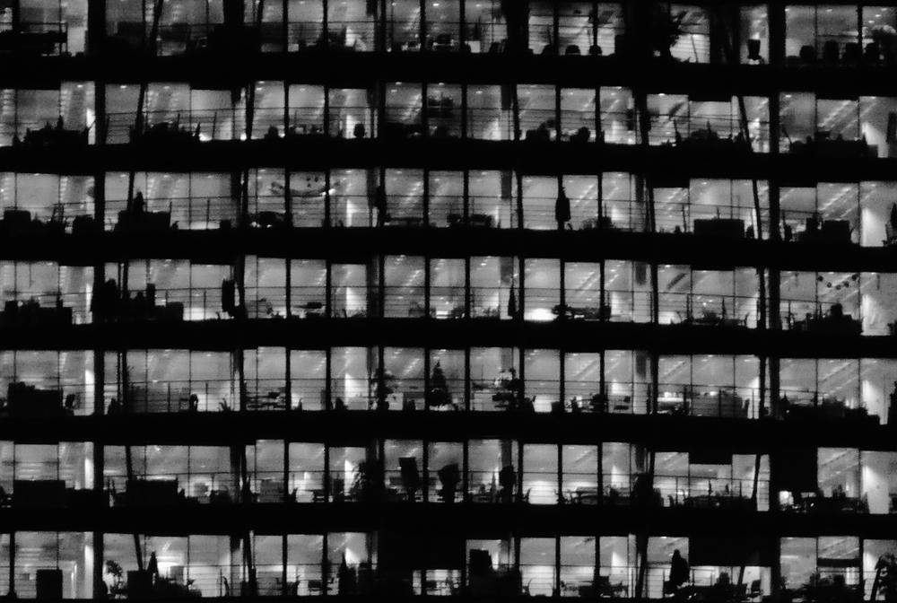 Photo noir et blanc d'un immeuble, Londres