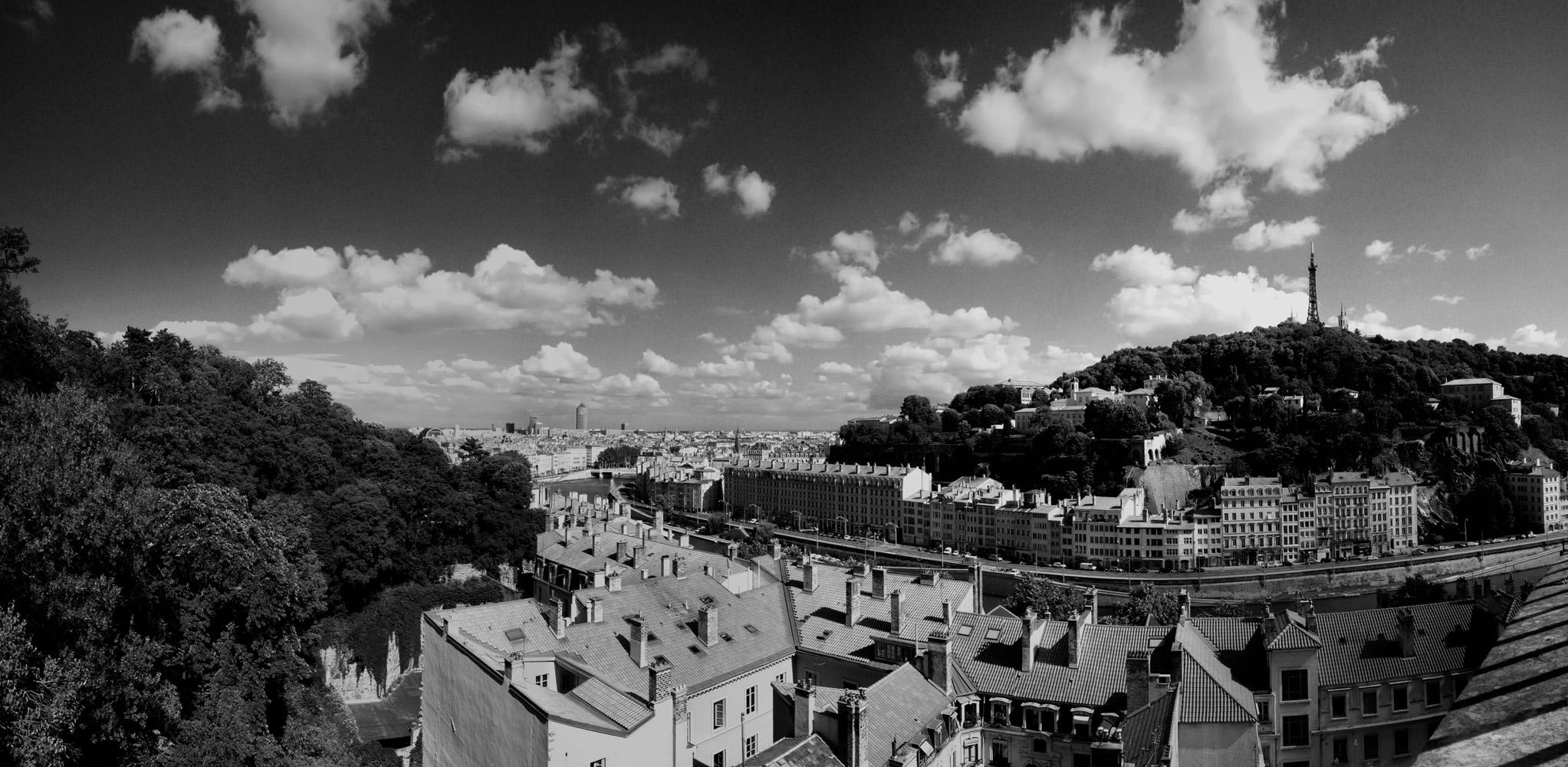 Photo noir et blanc de Lyon vu depuis Croix Rousse
