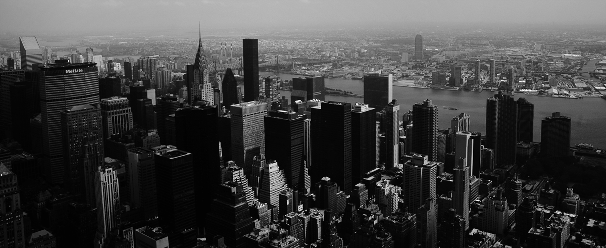 Photo noir et blanc d'une vue aérienne de Manhattan - New York, USA