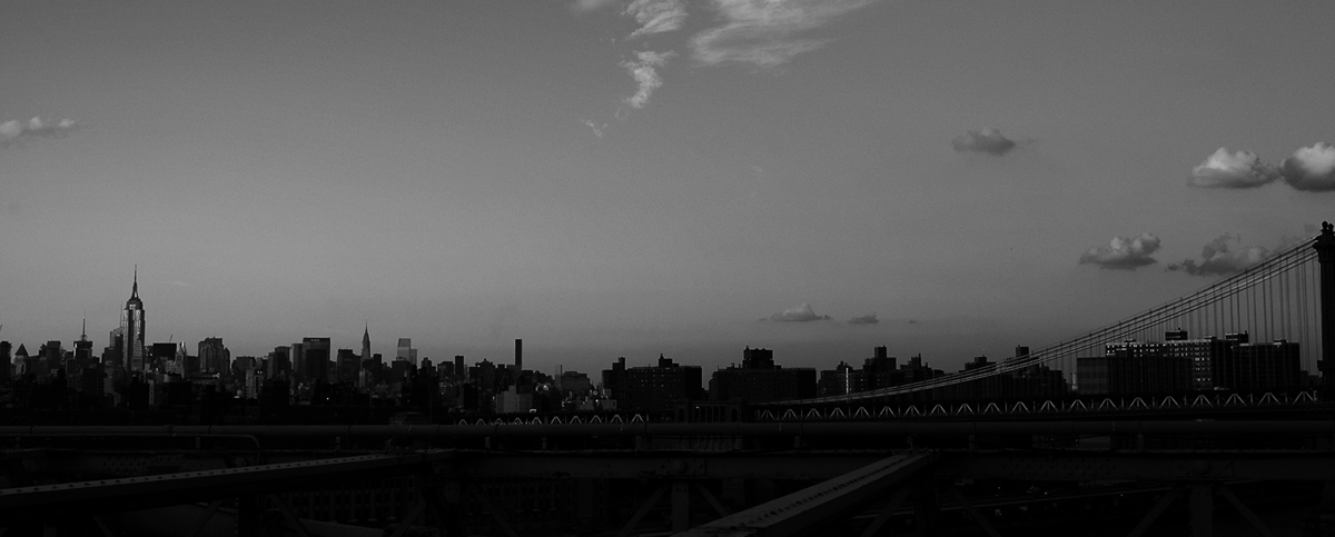 Photo noir et blanc de la skyline de New York, USA