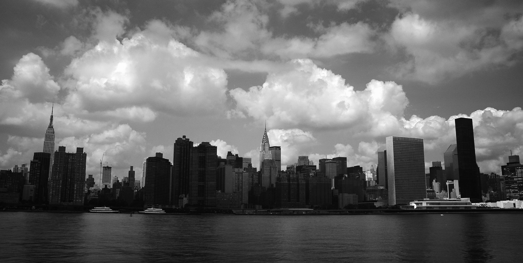 Photo noir et blanc de la skyline de New-York, USA