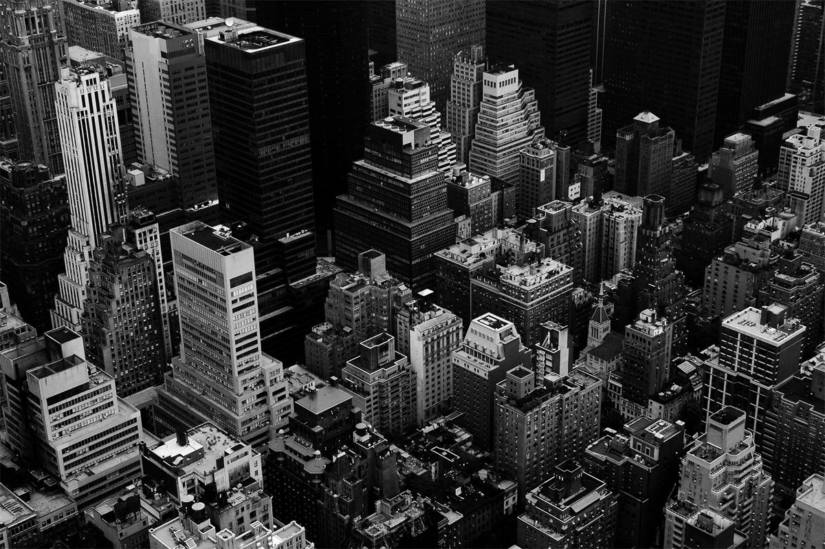 Photo noir et blanc des toits de New-York, USA