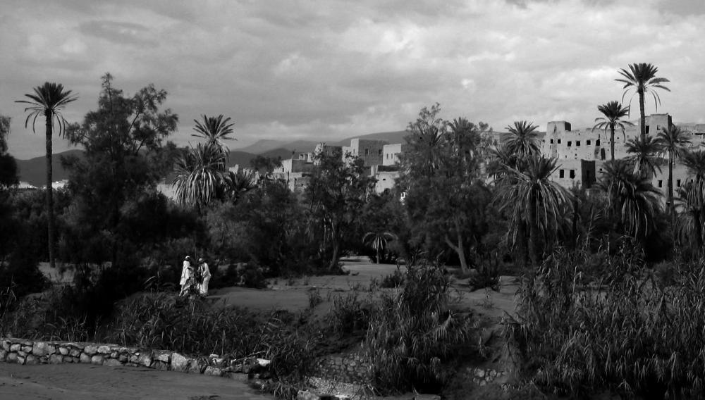 Photo noir et blanc des casbahs de Ouarzazte, Maroc
