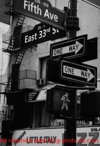 Panneau de signalisation au croisement de la 5th Avenue - New-York, USA