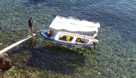 Photo couleur d'un bateau sur la mer Adriatique, Croatie