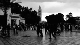 Photo noir et blanc de Marrakech, Maroc