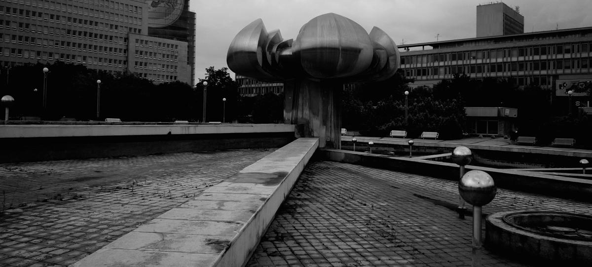 Photo noir et blanc d'une place à Bratislava, Slovaquie