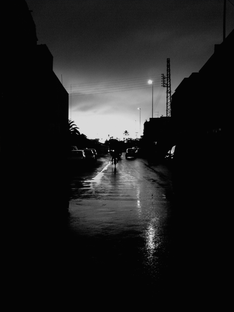 in the rain after the storm. Black and White digital photo – Morocco,