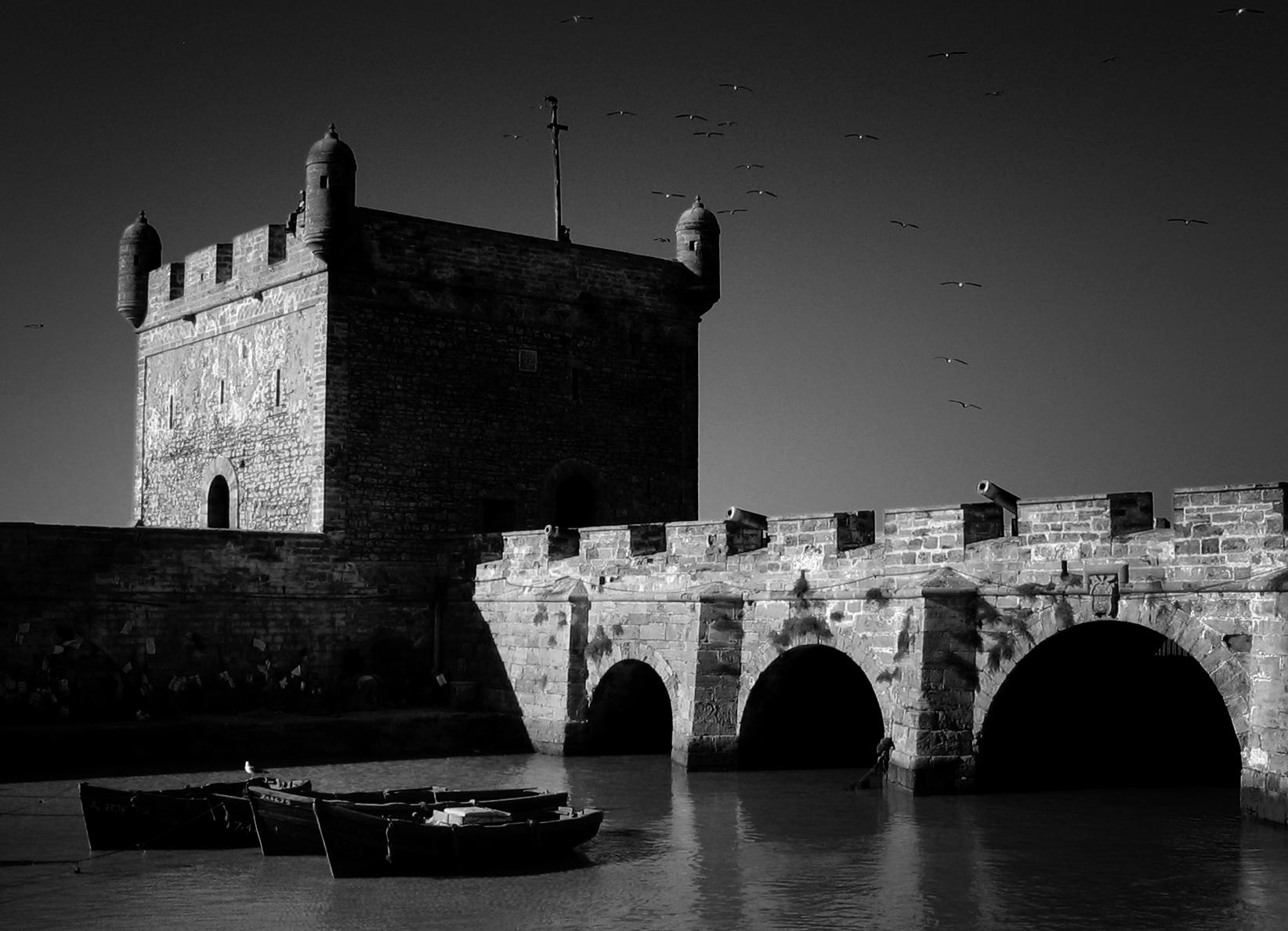 Photo noir et blanc de la Skala du port d'Essaouira - Maroc