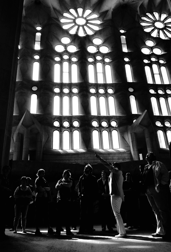Photo noir et blanc de la Sagrada Familia, Barcelone