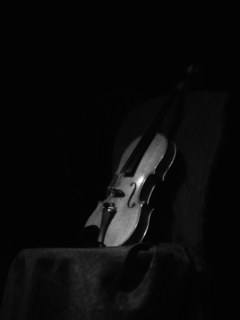 Photo noir et blanc d'un violon, Lyon