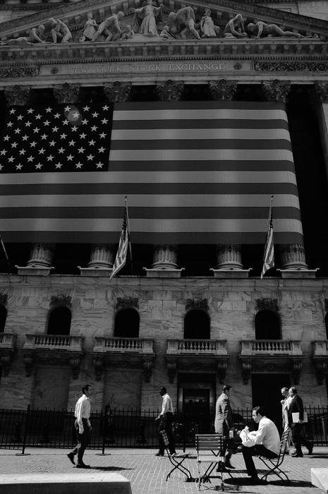 Photo noir et blanc de Wall Street, New-York - USA