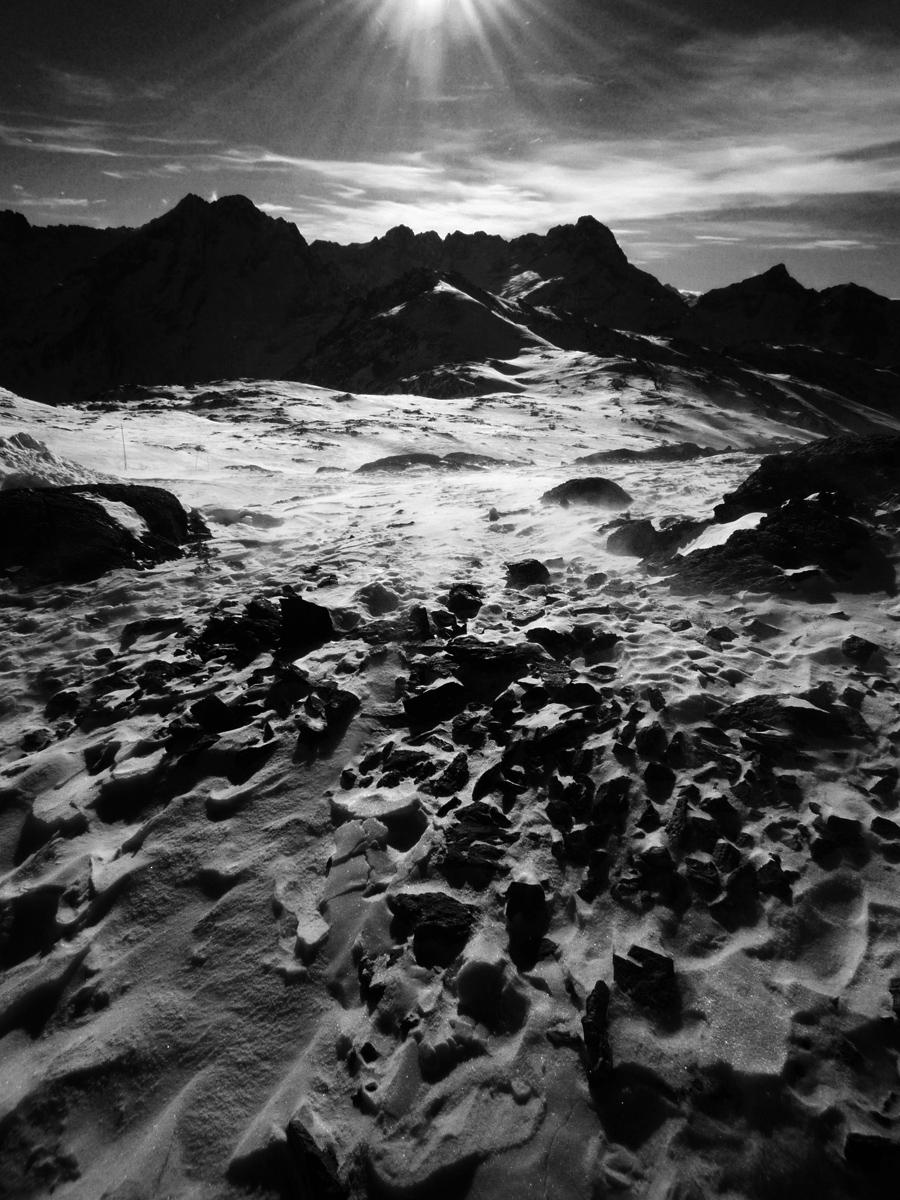 Vue sur le pic de la Muzelle, la montagne dans tempête - Les 2 Alpes